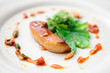 canvas print picture - Fried foie gras with caramel and vegetables