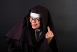 nun flipping you off