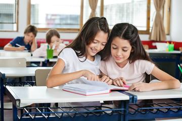 Schoolgirls Studying Together At Desk