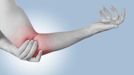 Acute pain in a man elbow.