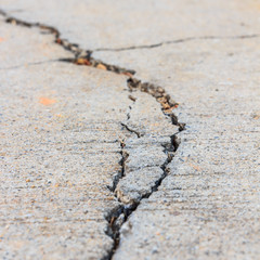 close up of crack cement road
