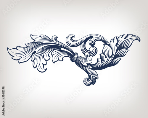 vector vintage Baroque frame scroll pattern