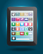 Home decoration of social media icons buttons with tablet comput