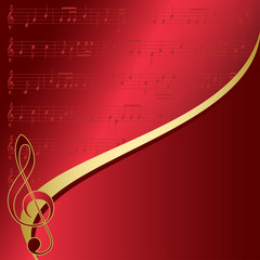 red background with musical notes - vector