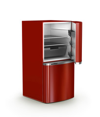 open refrigerator isolated, 3d