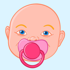Baby sucking a pacifier