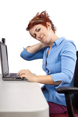 young woman demonstrating office desk posture
