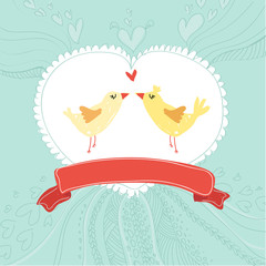 Invitation card with birds. Wedding or Valentines Day.