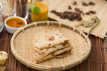 Indian flat-bread called Chapati with vegetable curry