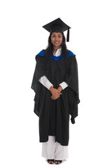 female indian graduate isolated on white background full body an