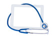 medical tablet with blue  stethoscope