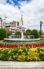 Fontana in Piazza Catalunya a Girona, Spagna