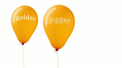 Bouncing orange balloons with bigger brighter bolder text