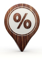 percent sign on a set of wooden  markers