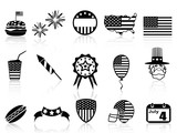 Fourth of July icons set
