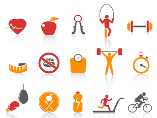 simple fitness icons set,orange color series