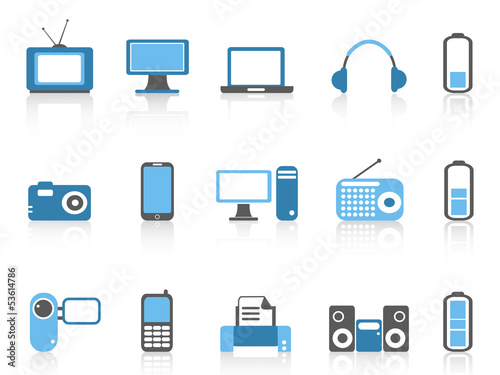 simple electronic icons,blue color series