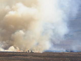Smoke from a grass fire in the Drakensberg Foothills