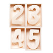 2,3,4,5 wood alphabet in block