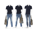 Full male mannequin in blue t-shirt with three bag