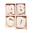 A,B,C,D wood alphabet in block