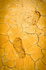 footprint on dry crack soil