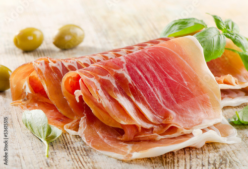 Slices of cured ham