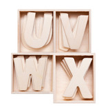 U,V,W,Z wood alphabet in block