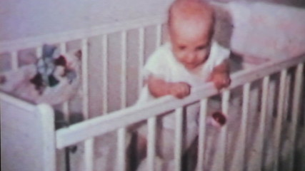 Cute Baby Boy In His Crib-1964 Vintage 8mm film