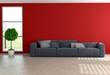 Rote Wohnzimmerwand
