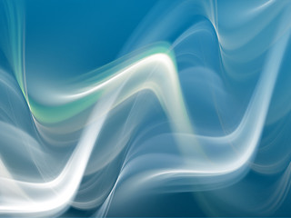Abstract white smoke waves on light blue background