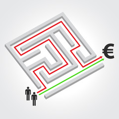 Labyrinth with arrow, people and euro symbol