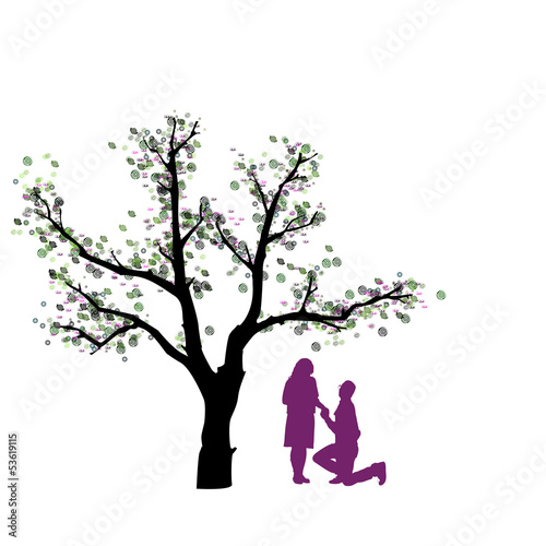 Abstrakter Baum mit Liebespaar