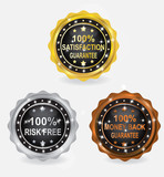 Percent Guarantee Badge Gold Silver Bronze Set