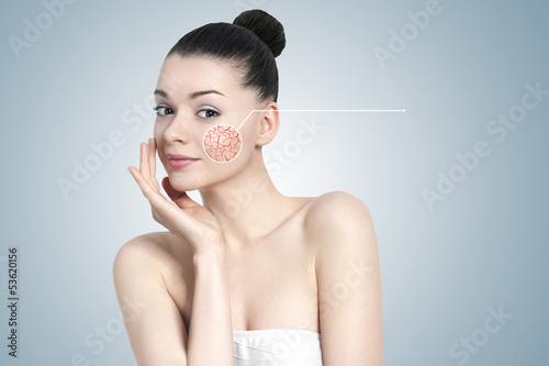Fototapeta Beautiful brunette woman portrait - skin care concept