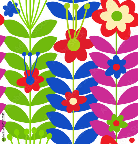 Floral stylish seamless pattern. Cute doodle flowers © silmen