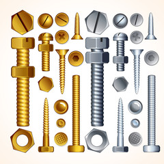 Metal Screws, Bolts, Nuts and Rivets, Isolated