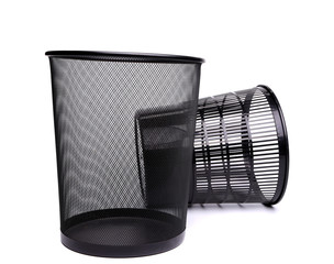 metal and plastic trash can.