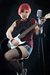 Rockmusikerin mit E-Gitarre