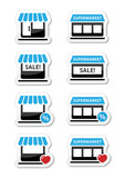 Single shop / store, supermarket vector icons set