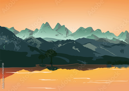 Berge mit Bergsee
