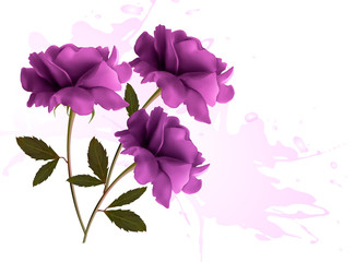Holiday background with three beautiful flowers. Vector