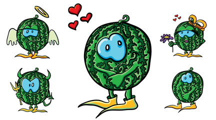 Funny cartoon watermelons in love