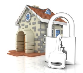 house and padlock with