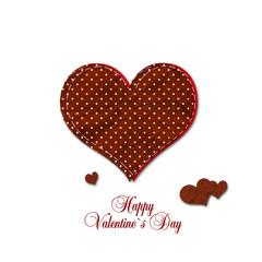 Valentine`s Day Karte Herzen Stoff auf Weiß