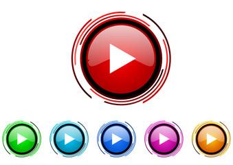 pley vector glossy web icon set