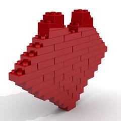 Символ сердца из кубиков конструктора