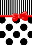 Polka Dots, Stripes - Ribbon and Bow - Black, White, Red