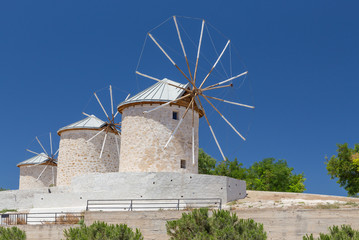 Traditional windmills in Alacati, Izmir province, Turkey