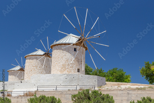 Traditional windmills in Alacati, Izmir province, Turkey
